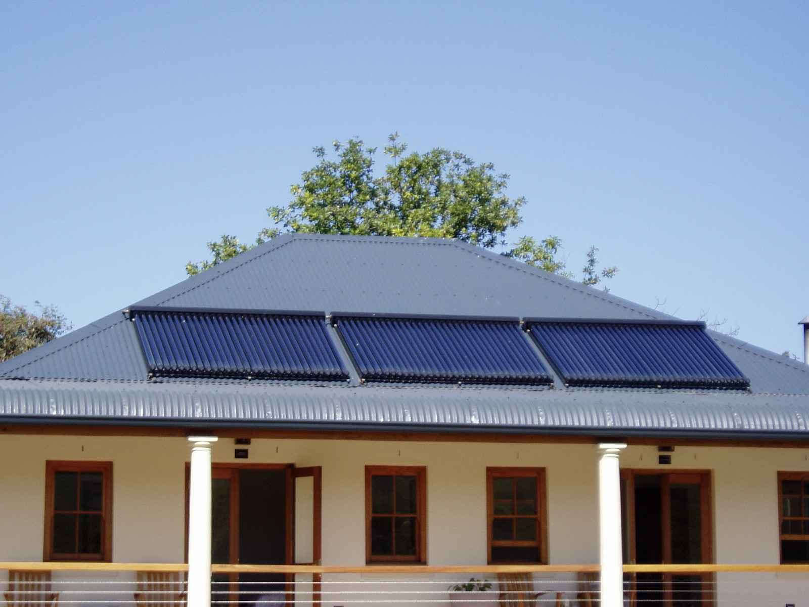 House with Evacuated-tube Solar Collectors